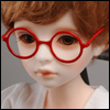 MSD - Round Steel Lensless Frames Glasses (Red)