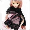Model & SD - Chiffon Lace Scarf (Black)