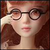 12inch doll -  Round Steel Lensless Frames Glasses (Black)