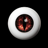 26mm - OMeta Half Round Acrylic Eyes (Red 04)