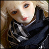 Model & MSD - Check Woollen Muffler (K - Black)