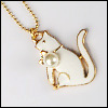 MSD & SD Size - Pearl Cat Necklace (White/Gold)
