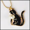 MSD & SD Size - Pearl Cat Necklace (Black/Gold)