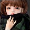 Model & MSD - Soft Check Woollen Long Muffler (Green)