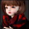 Model & MSD - Soft Check Woollen Long Muffler (Red)