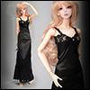 Model doll size - Long Slim Line Slip (Black)